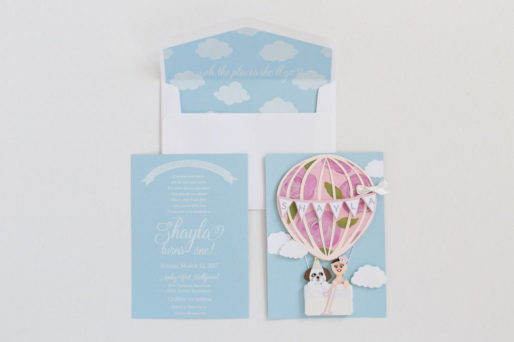 First Birthday Hot Air Balloon Invitation