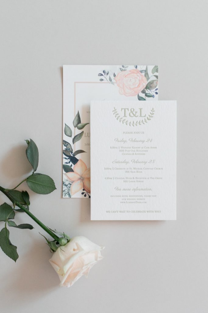 Watercolor Wedding Invitations with Sage Letterpress for Texas Wedding