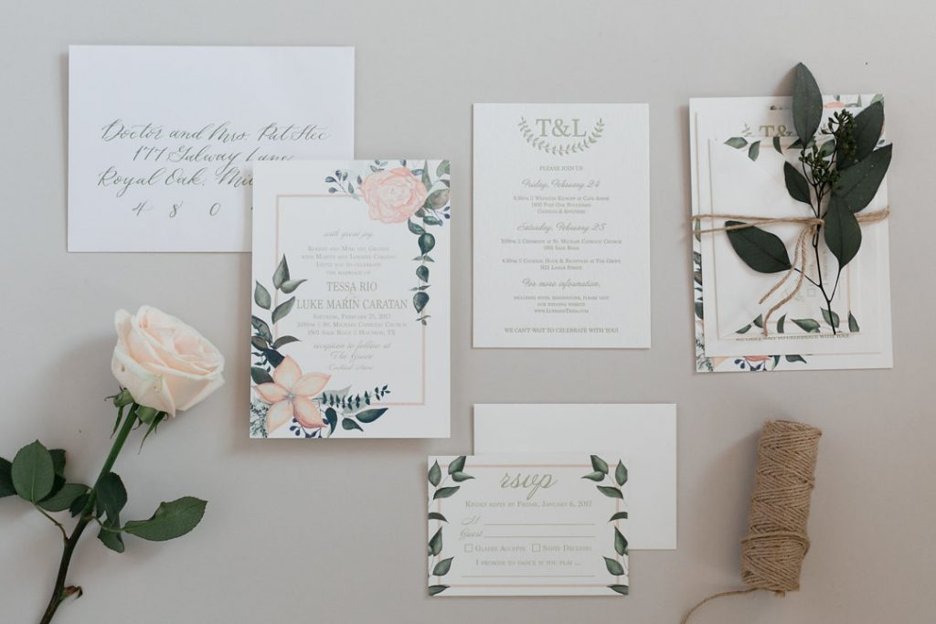 Watercolor Flower and Eucalyptus Wedding Invitation