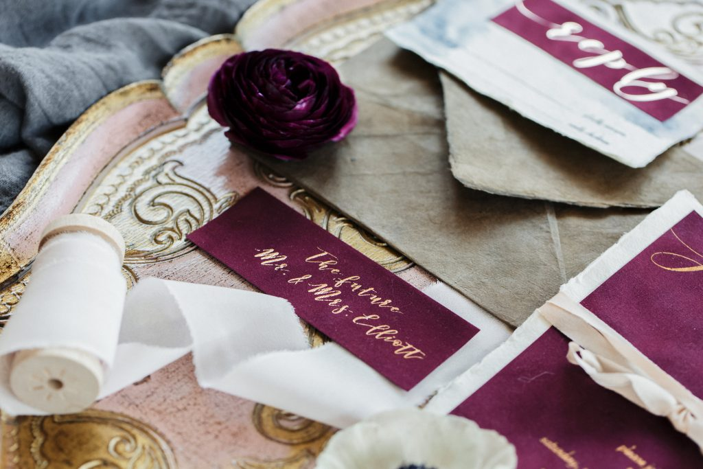 Featured California Wedding Day velvet invitations by Cecile's Paper Co.