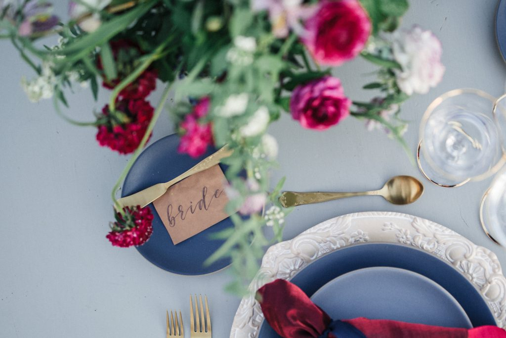 Laser-etched place cards on California Wedding Day