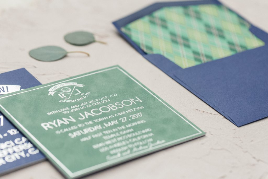 Custom argyle envelope liner, double-sided invitation with green velvet and navy blue with silver foil