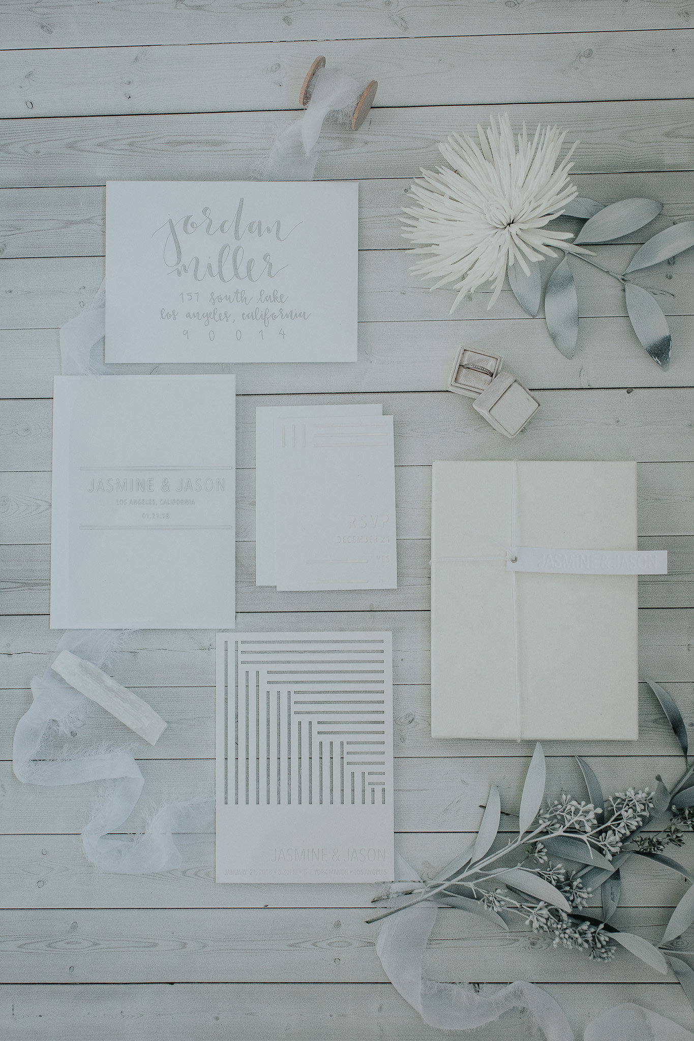 White Matte Acrylic Invitations for Monochromatic White Winter Wedding