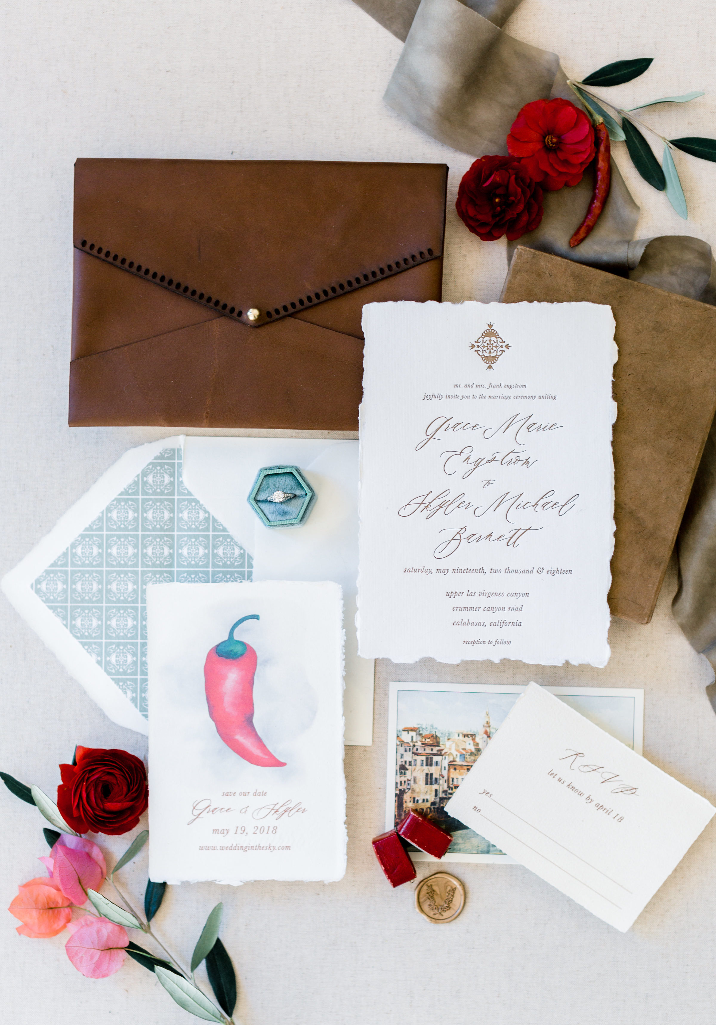 Southern Italian Inspired Wedding Invitations